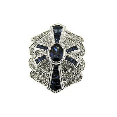 14 Kt White Gold Diamond And Sapphire Art Deco Fashion Ring