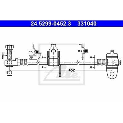 1 Bremsschlauch ATE 24.5299-0452.3 passend für FORD
