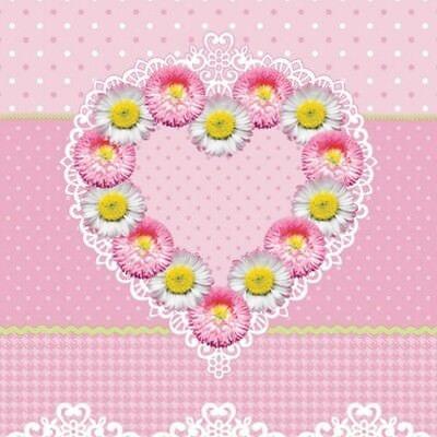 """20 Servietten  """"SWEET HEART"""" 33x33 Napkins Herz Liebe Gänseblühmchen Blumen"""