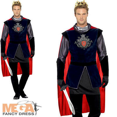 Deluxe King Arthur Mens Medieval Fancy Dress Fairytale Book Adults Costume New