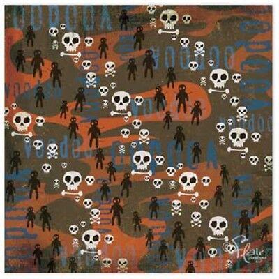 Voodoo Dolls Scrapbook Paper 12 x 12 Spellbound Skulls Bones Halloween 10 Sheets - Halloween Paper Dolls