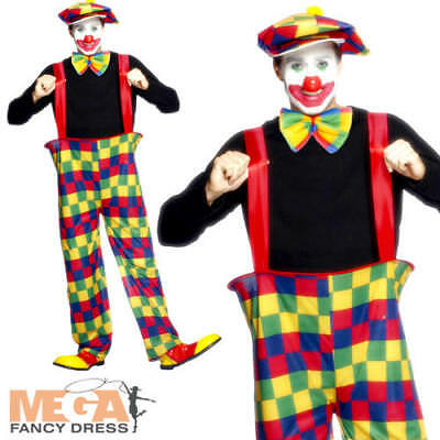 Clown Mens Fancy Dress Circus Joker Fun Carnival Novelty Adults Costume Outfit