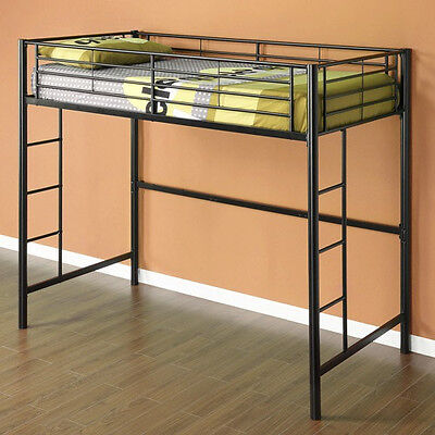 New TWIN Loft Bed in Black Metal Bunk - Great for dorm or kids room!  SHIPS FREE ()