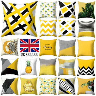 Modern Geometric Cushion Yellow and Grey Scandi Sofa Case Cover Room Decor 45x45