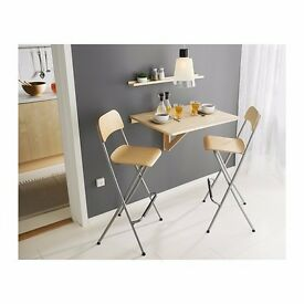 Wall mounted drop-leaf/ foldable table with two bar stools