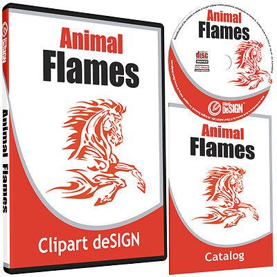 ANIMAL FLAMES CLIPART-VINYL CUTTER PLOTTER IMAGES-EPS VECTOR CLIP ART CD
