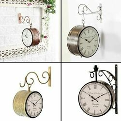 Vintage Double Sided Clock Retro Roman Numeral Station Wall Mounted Clock 8
