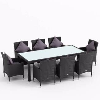 BRAND NEW : Morocco-8 9pc PE Wicker Outdoor Dining Setting - Blac Seven Hills Blacktown Area Preview