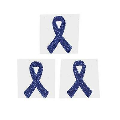 Katrina dystonia respiratory Colon Cancer Blue Ribbon Glittery Tattoo Sticker (Colon Cancer Tattoos)