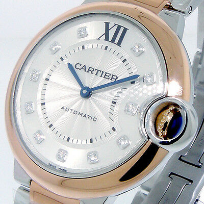 CARTIER BALLON BLEU W3BB0007 18K PINK GOLD STEEL 36 mm DIAMONDS W3BB0007