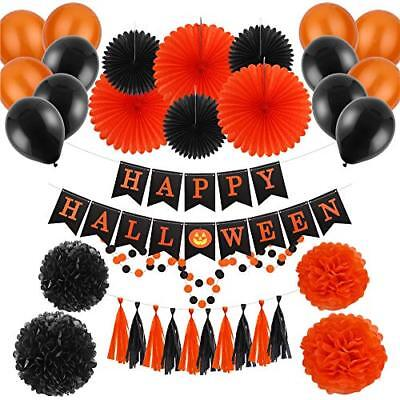 34pcs Halloween Garland Kits Tissue Paper Party Banners Latex Balloons Hallowen
