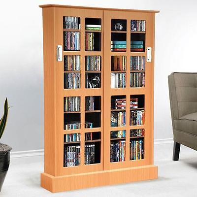 Windowpane Media Cabinet with Sliding Glass Doors Bookshelf Office Furniture