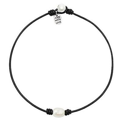 Single Cultured Freshwater Pearl Choker Necklace -Genuine Black or Brown Leather Brown Pearl Drop