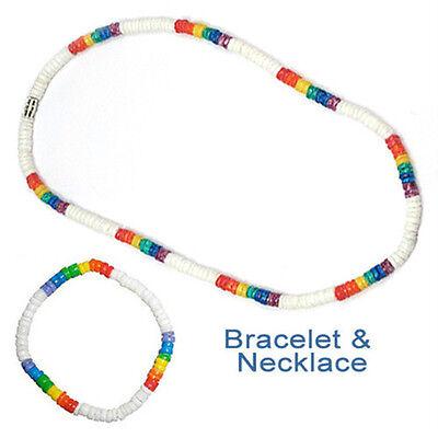 Pride Shack - Lesbian Gay Pride White Rainbow Puka Shell Bead Necklace Bracelet - Lesbian Pride Necklace