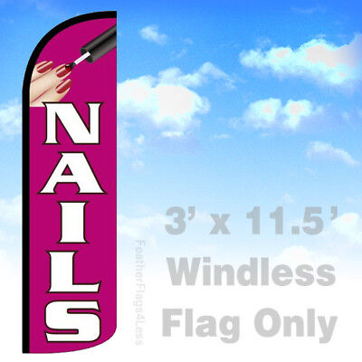 Nails - Windless Swooper Flag Feather Banner Sign 3x11.5 Pq