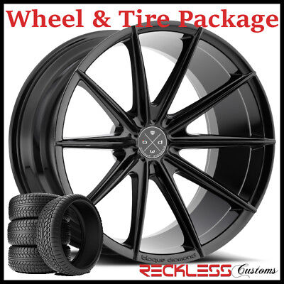 "22"" BLAQUE DIAMOND BD11 CONCAVE BLACK WHEELS AND TIRES FITS BMW 7 SERIES"
