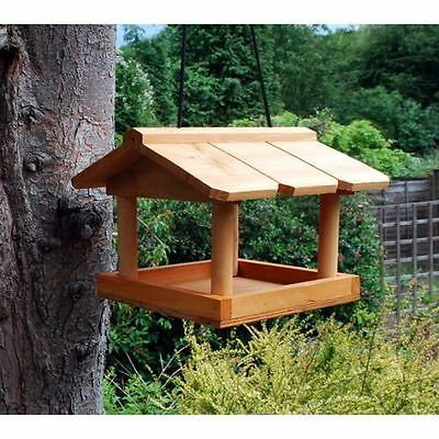 New Hanging Wooden Bird Table Garden Wild Birds Tree Bracket Feeding Station