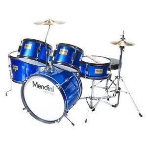 Mendini 5-Piece 16-Inch Junior Drum Set, Metallic Blue