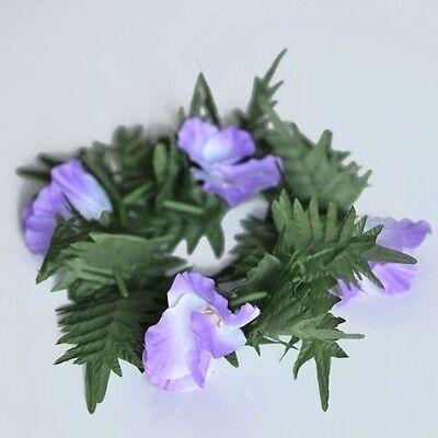 Premium Purple Flower Lei Festival Headband Boho Glad and Fern -