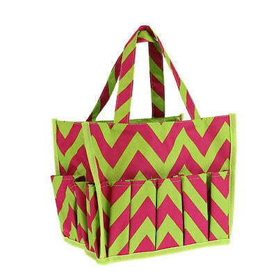 Chevron Pattern 16 Pocket Lined Organizer Tote NWT  (Hot Pink Chevron)