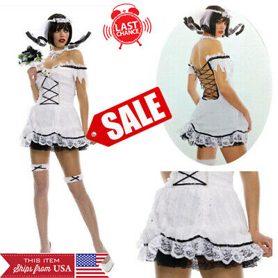 Ladies Zombie Bride Halloween Costume (Corpse Bride Ghost Zombie Wedding Halloween Costume Lace Up Back Mini Dress)