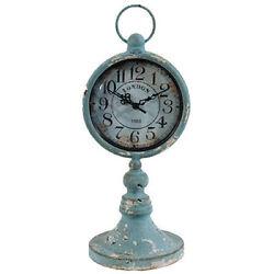 Antiqued Metal Pedestal Clock 13 - 35124