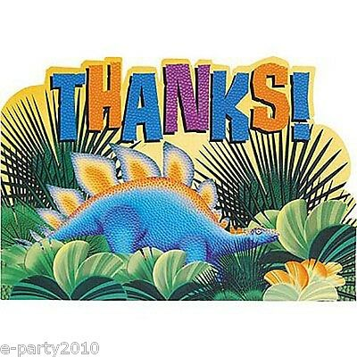 DINOSAUR PREHISTORIC PARTY THANK YOU NOTES (8) ~ Birthday Supplies Stationery - Prehistoric Party Supplies