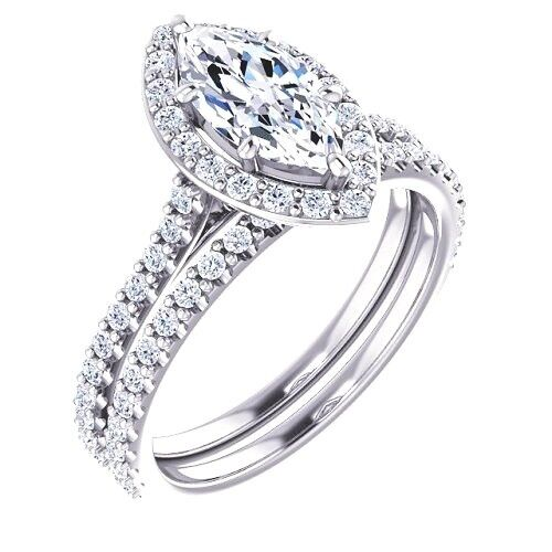 GIA 4.08 Ct. Marquise Cut Halo Pave Diamond Engagement Bridal Set F, SI1 NEW 14k 1