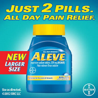 Bayer Aleve 320 Caplets Naproxen Sodium 220 Mg Nsaid Pain Reliever Fever Reducer