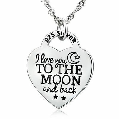 i love you to the moon and back love heart pendant 925 sterling I Love The 2000'S i love you to the moon and back necklace love heart 925 sterling silver pendant