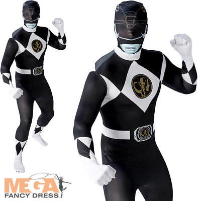 Black Power Ranger Mens Fancy Dress Rangers Suit Adults Superhero Costume Outfit