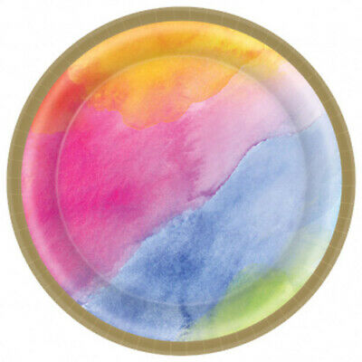 SUMMER RAINBOW WATERCOLOR SMALL PAPER PLATES (8) ~ Birthday Party Supplies Cake](Rainbow Birthday Plates)