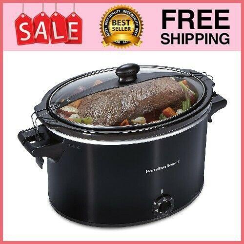 Crock Pot Slow Cooker Large Lid Lock Dishwasher Safe Kitchen Home Cooking 10 Qt