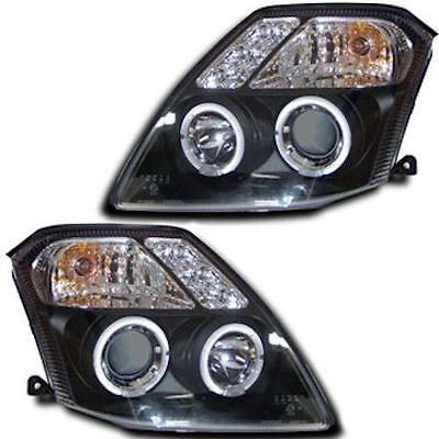 Citroen C2 all models inc VTR VTS Black Twin angeleye headlights 1 pair