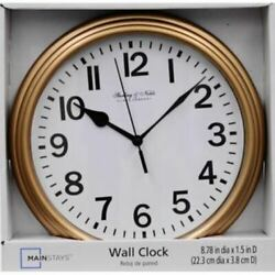 Sterling & Noble 8.78 in. Diameter Quartz Wall Clock Decorative Plastic Gold