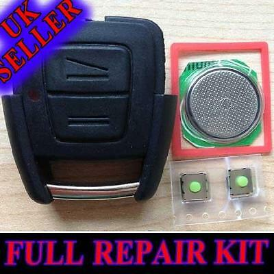 Vauxhall Opel Astra Vectra Zafira 2 Button Remote Key Fob Case Full Repair Kit