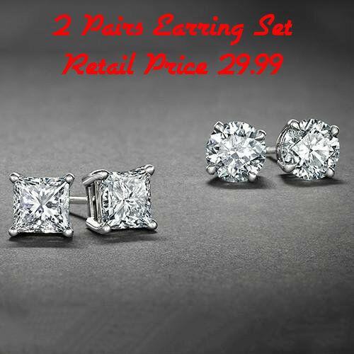 Jewellery - Sterling Silver Stud Earrings Cubic Zirconia Round Men Women 2PC CZ Earrings Set