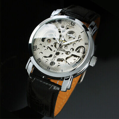 Mens Watch Automatic Silver Stainless Steel Case Hand-winding Best Gift (Best Mens Casual Watches)
