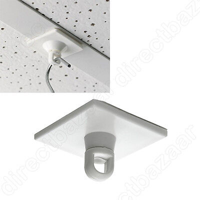 100 x Square Adhesive Rotating Ceiling Button with Swivel Eyelet, easy fix