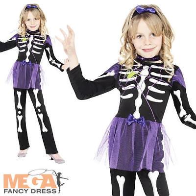 Pretty Skellie Skeleton Girls Halloween Fancy Dress Kids Child Costume Age - Halloween Costumes For Girls Age 9