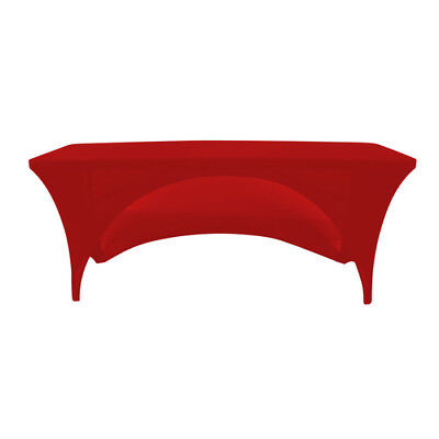 Red 6 Foot 30 x 72 Spandex Table Cover, Open Back - Quality, Made in the U.S.A (72 Red Table Cover)