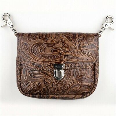 Genuine Leather Belt Bag - Hip Clip Purse Brown Embossed Floral USA MADE -