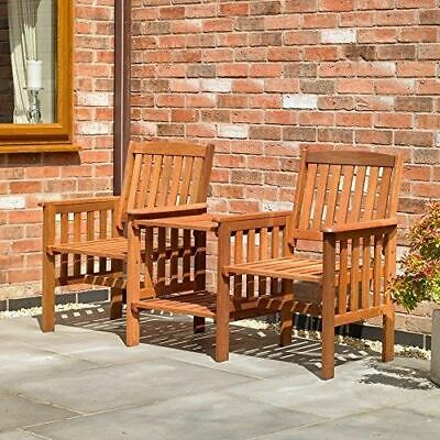 Garden Furniture - Garden Furniture Love Seat Wooden Bench 2 Seater Patio Twin Chair With Table Set