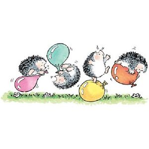 PENNY-BLACK-RUBBER-STAMPS-BALLOON-MADNESS-HEDGEHOGS