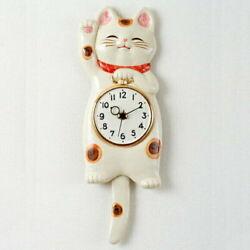 Lucky cat SETO ware porcelain Manekineko wall pendulum clock for gift Japanese