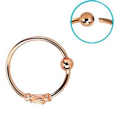 Rosen Gold Beschichtet Sterlingsilber Nasen Ring Creole 0.8cm Bali Stil 22 Gauge (Nasen-ring Gold 22)