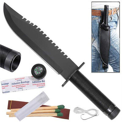 Fixed Blade Military Saw-Back Outdoor Hunting Survival Kit Compass Bowie Knife