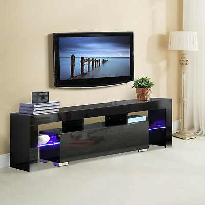 مكتبة تلفزيون جديد Black High Gloss TV Stand Unit Cabinet Console Furniture w/LED Shelves 2 Drawers