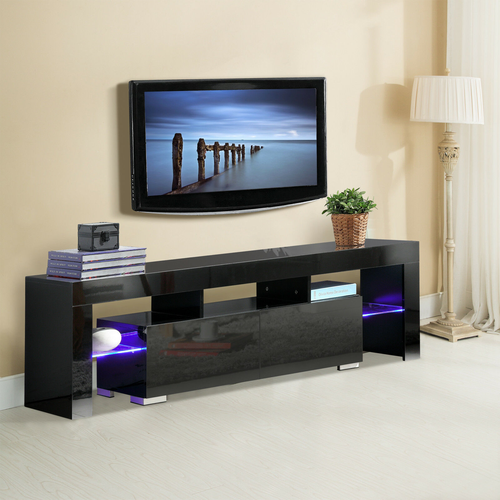High Gloss Black Tv Stand Unit Cabinet W Led Shelves 2 Drawers Console Furniture