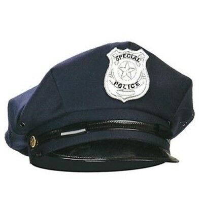 E Schwarz Blau Cop Cap Police Hut Mütze Kappe Kostüm S8427 (Cop Kostüm Hut)
